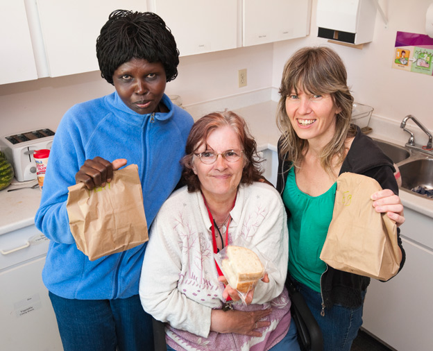 Volunteers at the Plessis Road Community Family Resource Centre make lunches for hungry local kids.