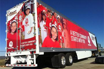 Bison Transport's United Way-wrapped trailer.
