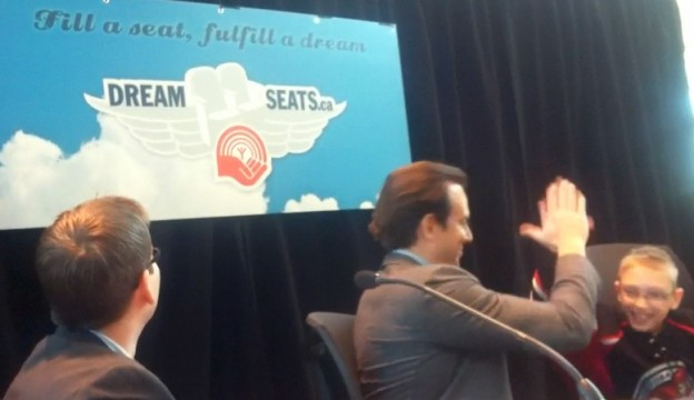 Will Arnett high-fives Skylar Pearson at the Dream Seats press conference.