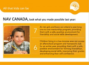 What Nav Canada made possible through donations to United Way of Winnipeg.