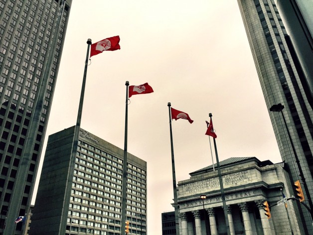 United Way flags over Portage & Main.