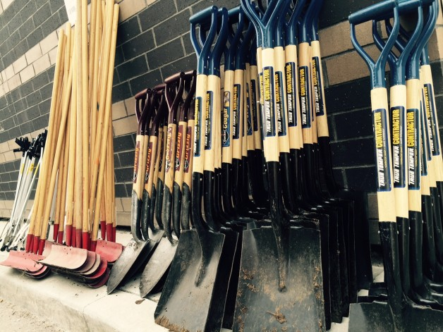Shovels borrowed for the Youth Day of Caring. That's a lot of shovels, right?!