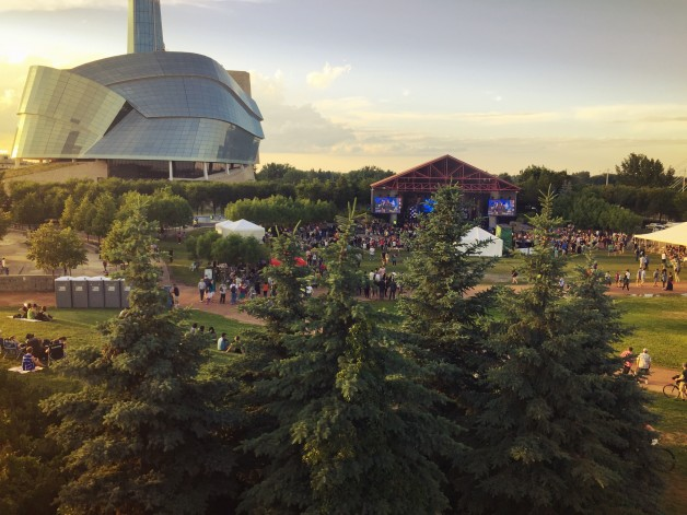 Sunset over the Forks at One Night For Winnipeg.