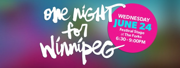 One Night for Winnipeg free concert at the Forks.