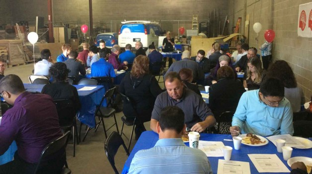 About 70 EPIC employees sat down to eat some pancakes and hear about the work of United Way agencies