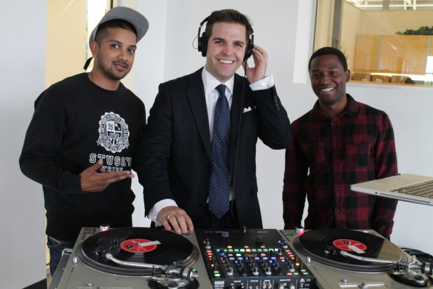 Jamil the DJ (right) and Mav-One (left) let Adam Smoluk take the wheel