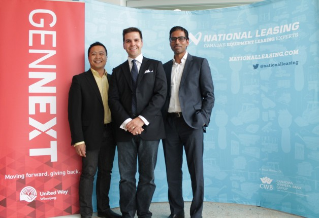 Former United Way GenNext Council chairs Paul Lacap (left) and Gurpreet Brar flank current chair Adam Smoluk.