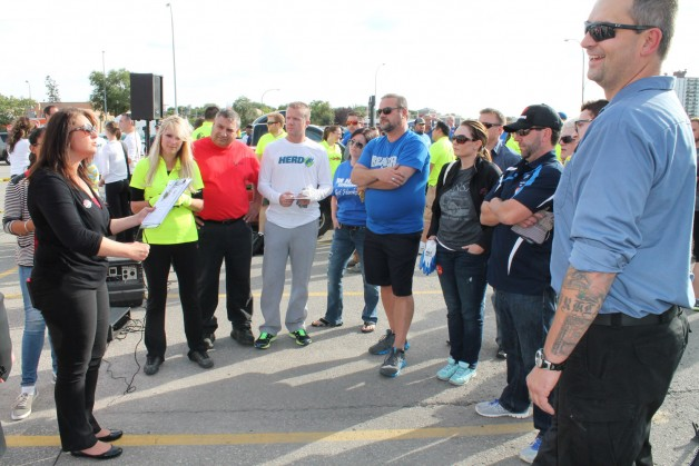 MTA's Laura La Palme briefs team captains before Friday's truck pull.