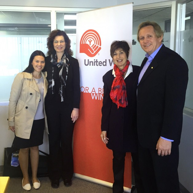 United Way sponsored executive Katie Dubienski, Canad Inns Employee Campaign Chair Laura Kwiatkowski, Philipa Caplan of Macdonald Youth Services, and United Way Partnership Development Manager Rob Pierce.