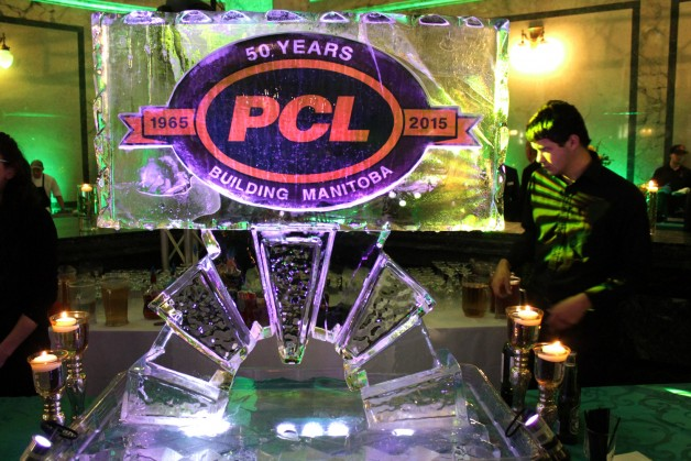 An ice sculpture, embedded with the familiar PCL logo marking theanniversary.