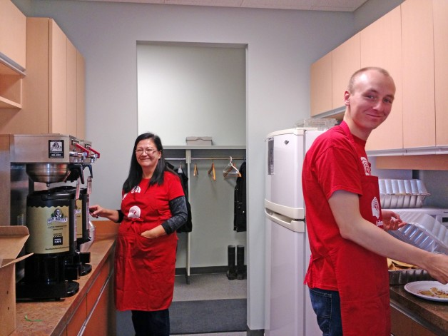 Sponsored Executives Evelyn and Curtis helping get breakfast served.