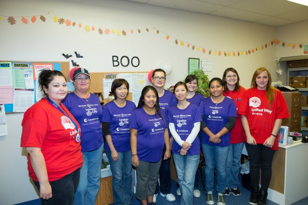 Great-West helpers painted two offices and a kitchen at Pregnancy & Family Support Services.