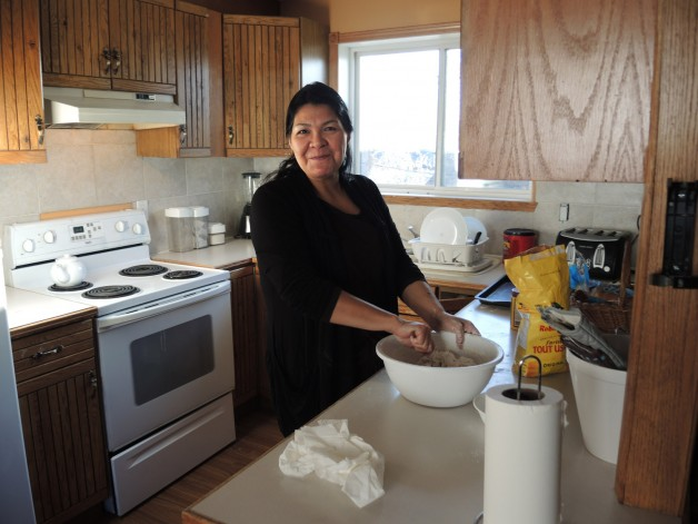 Andrea from North End Women's Centre made bannock for both shifts of volunteers at the Betty Berg House!