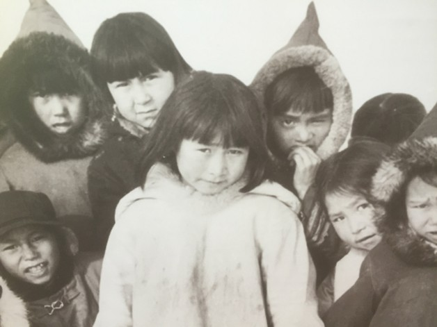 One of the historical photos in the exhibit: Ikaluit school children, Nunavut, 1958