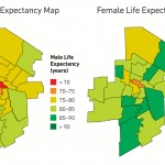 Life-expectancy compared for men and women in 23 neighbourhood clusters.