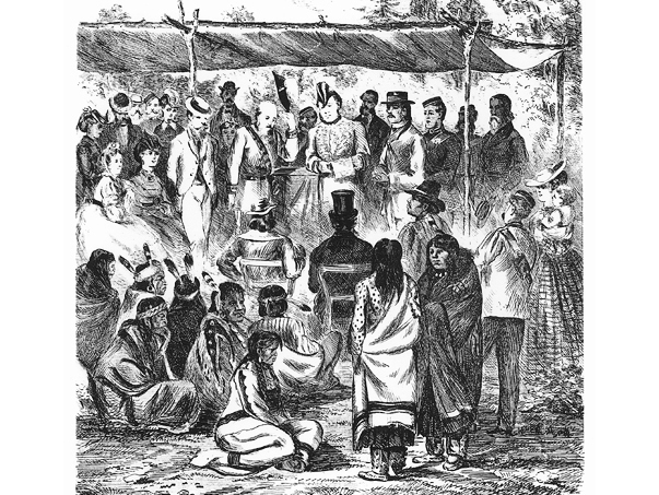 Conference with First Nations Chiefs during Manitoba-First Nations Treaty, 1871. Source: Glenbow Archives