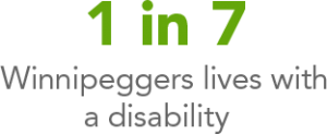 1 in 7 Winnipeggers lives with a disability.