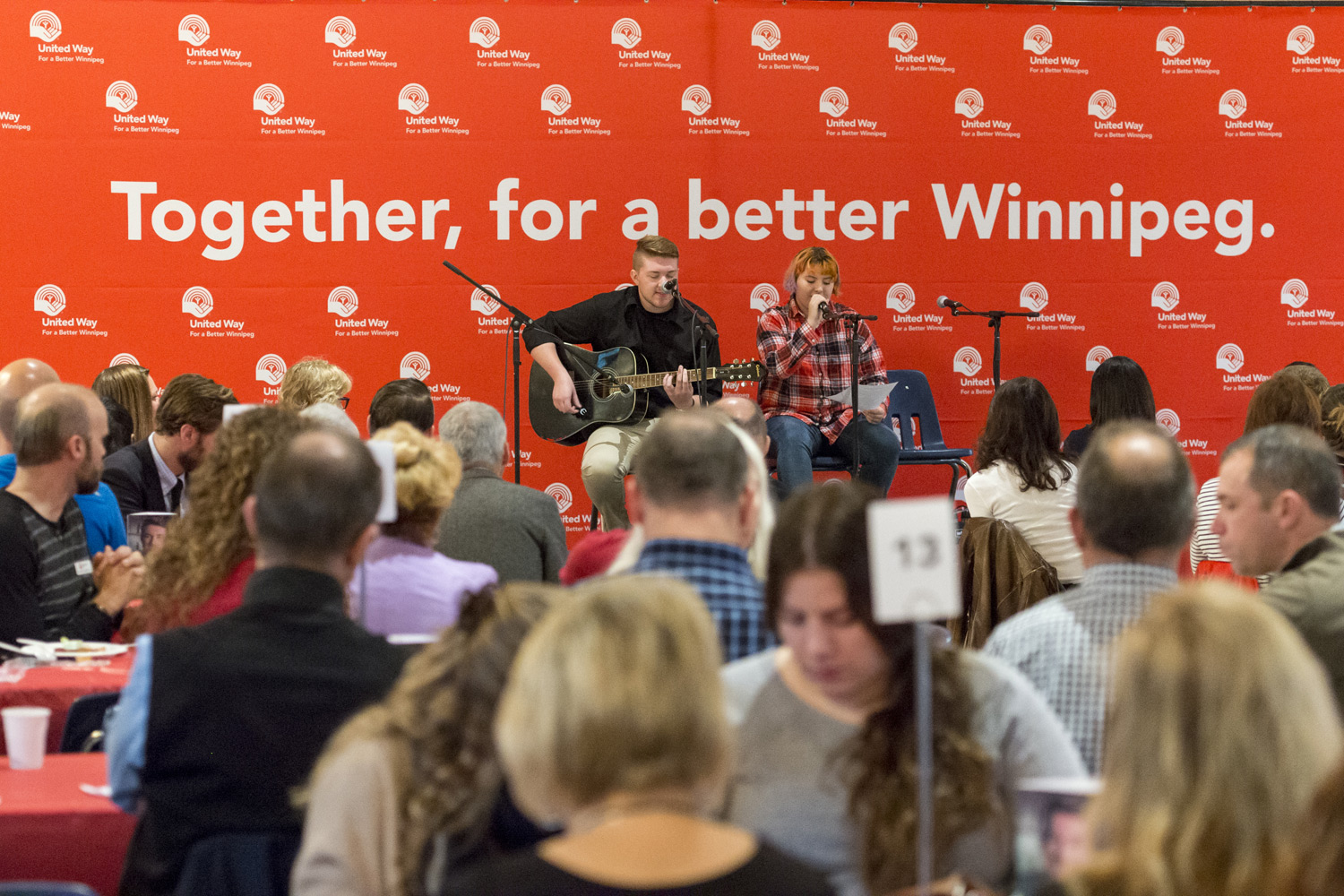 Griffin Jenkins of Mood Disorders Association of Manitoba Inc. and Alex perform at United Way Winnipeg's Campaign Breakfast