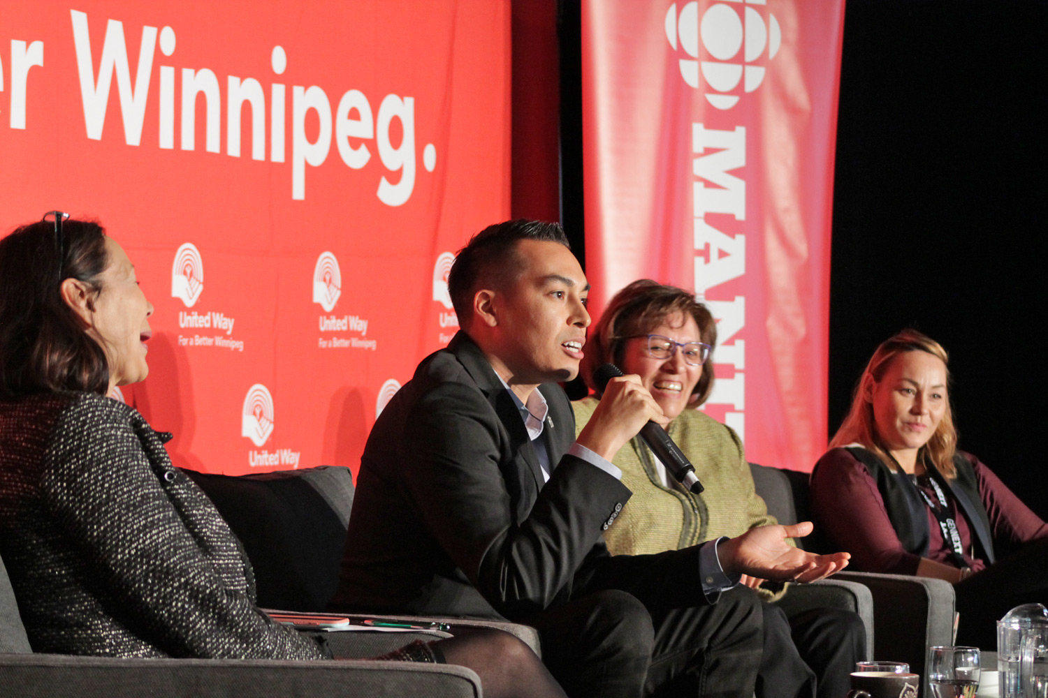 IMG_3172Hanwakan Whitecloud, joined by Jaimie Issac and Wendy Whitecloud, speaks during The Seeds of Reconciliation panel discussion moderated by Tina Keeper.