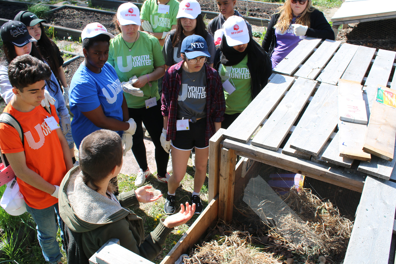 Youth learn about composting.