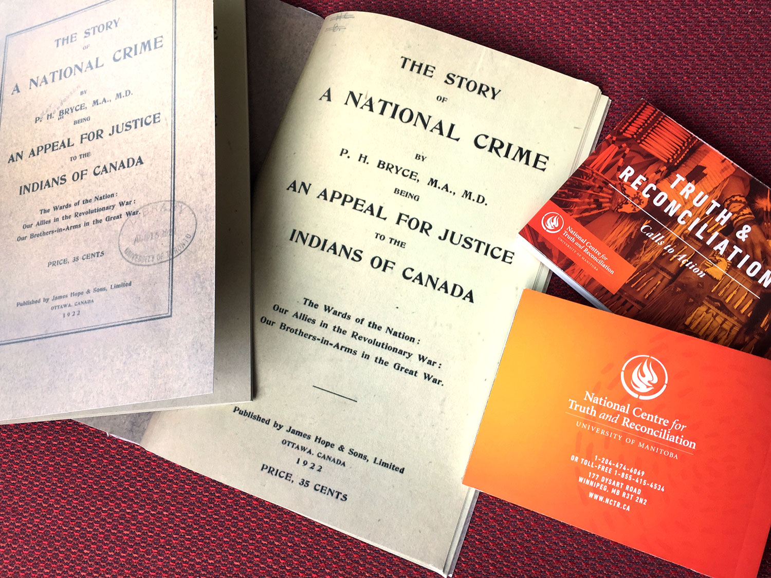 Copies of Dr. Bryce's ground-breaking 1922 report, the Truth & Reconciliation Commission's 10 principles of reconciliation, 94 calls to action, and the 46 articles of the United Nations Declaration on the Rights of Indigenous Peoples were made available to attendees of the exhibit launch.