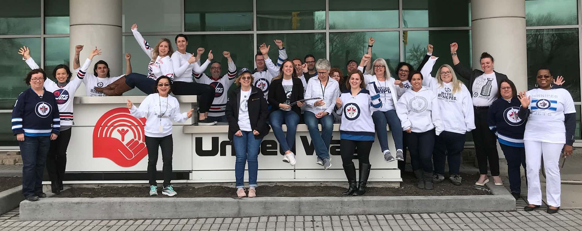 United Way Winnipeg staff celebrating the Winnipeg Whiteout.