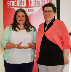 2017 award winner Deb Jones and Stephanie Swain (MGEU)