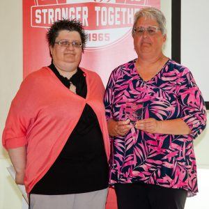 2018 award winner Deb Jones and Charlene Matheson Unifor Prarie Region