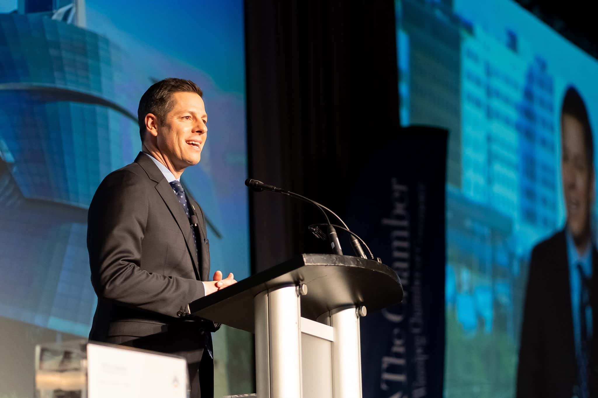 Mayor Bowman addresses the crowd at the State of the City.