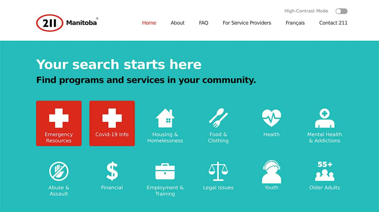 211 Manitoba is a resource to find help close to you.